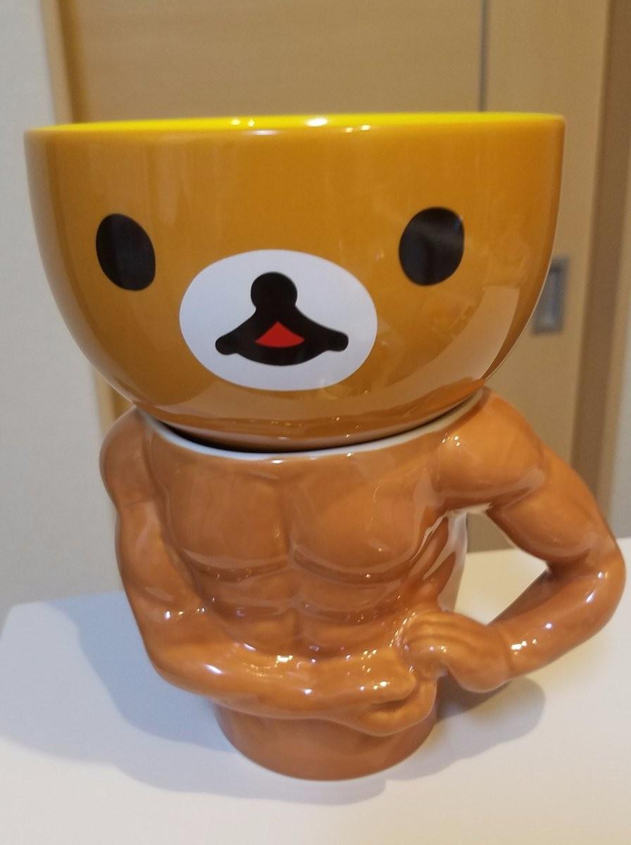 ▲▼日本網友組合拉拉熊碗和肌肉馬克杯。(圖/翻攝自推特,noonworks)