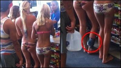 超商捕獲比基尼正妹 往下一看...竟有「電子腳鐐」