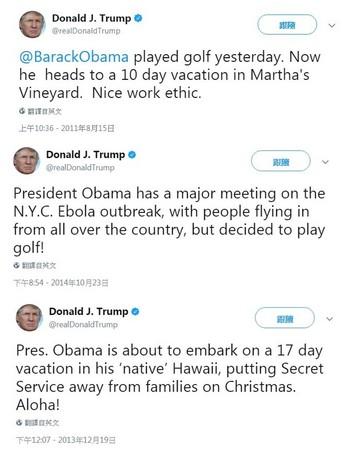▲▼川普去度假,卻被挖出打臉言論狂酸。(圖/翻攝自推特)
