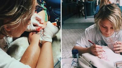 看到媽媽刺青,12歲巴拿馬正太拿起「紋身槍」參一腳