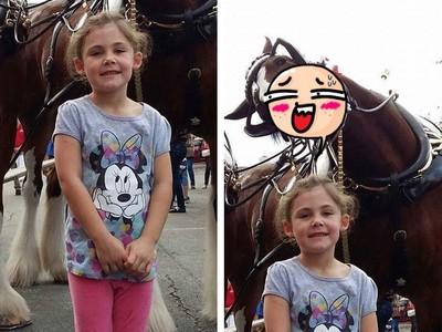 馬兒露出「網美級萌笑」 送給女孩永生難忘的合影照