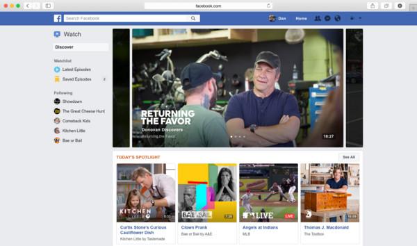 挑戰Youtube、Netflix?Facebook推自有影音平台Watch。(圖/翻攝自官網)