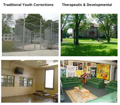 ▲密蘇里模式在美國也是改革派取徑,左圖為美國一般少年矯正機構的照片,右圖為密蘇里模式的少年矯正機構。圖片取自Missouri DSS Divison of Youth Services的介紹。             。(圖/記者王淑君攝)