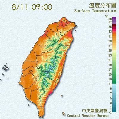 今天還是高溫炎熱,山區留意午後陣雨。(圖/翻攝自中央氣象局)