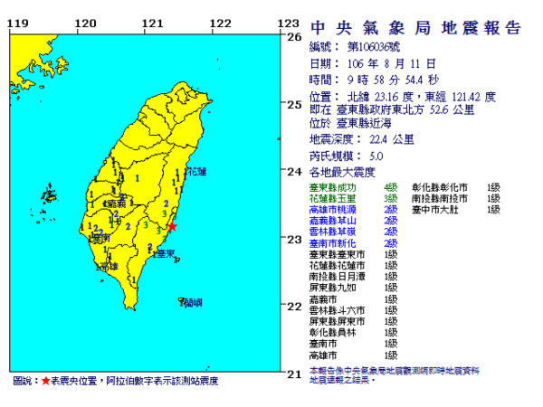 ▲台東地震。(圖/中央氣象局)