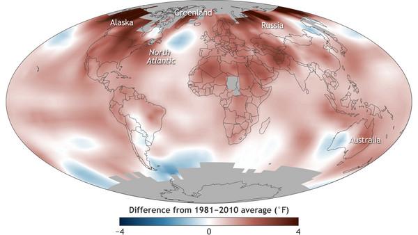 ▲ 美國最新研究,2016年是有史以來最熱的一年。(圖/翻攝美國國家海洋暨大氣總署網站)