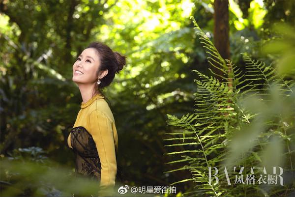 ▲叢林中回眸一笑 林心如優雅氣質大爆發。(圖/翻攝自明星愛街拍微博)