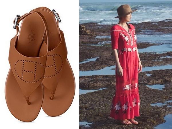 ▲陳喬恩去海邊玩穿愛馬仕涼鞋 。(圖/翻攝自陳喬恩臉書、pinterest)
