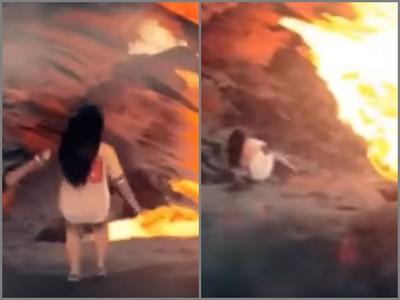 陸女失足「滾進火山口」嚇歪網友 調查後發現:竟是海邊