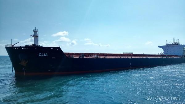 ▲台電卸煤輪擱淺高雄外海,出動6船拖救仍脫困失敗卡港外待援。(圖/航港局提供)