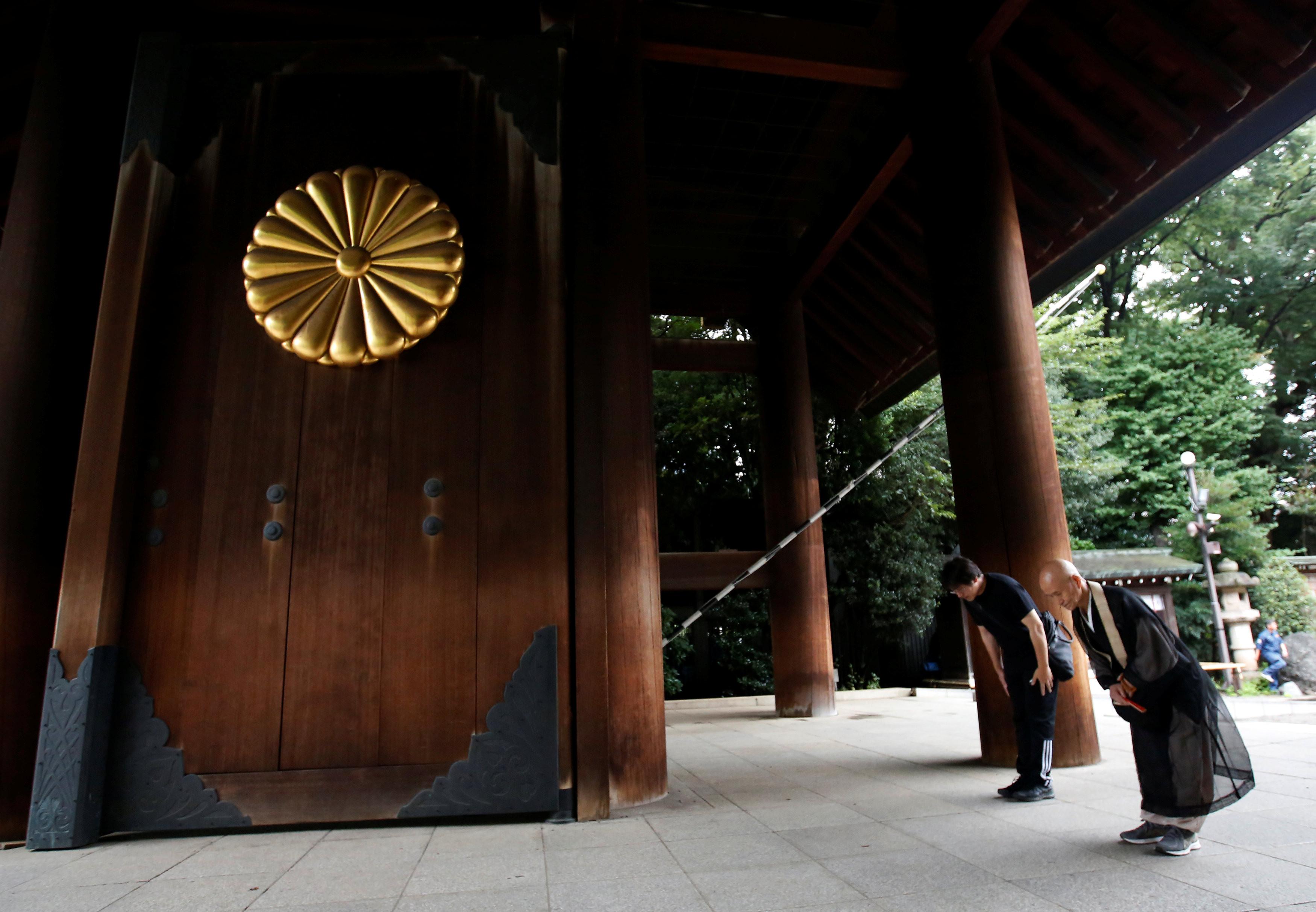 ▲▼日本戰敗投降72周年,靖國神社。(圖/路透社)