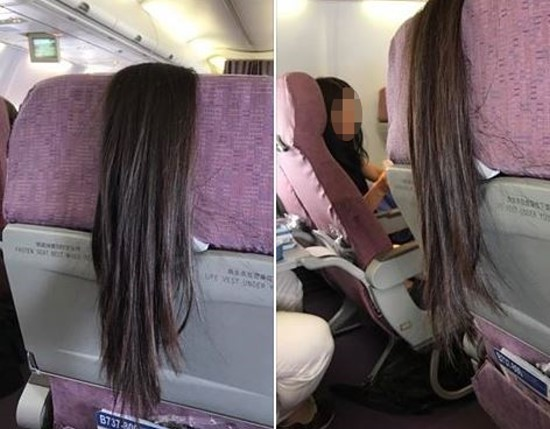 搭飛機遇前座客人長髮披椅背,網友求救獲爆笑回答,「夾進餐桌裡!」(圖/翻攝自爆料公社)