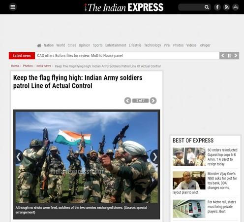 ▲▼《印度時報》宣稱印軍成功防禦邊境,並公布了印軍揮舞國旗的照片。(圖/翻攝自《印度時報》)