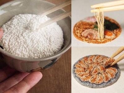 好想扒口飯來吃!粒粒白飯和麵條,全靠針線「繡」出來