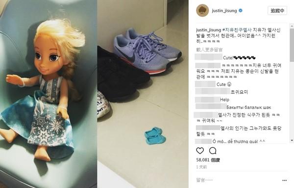 ▲▼池晟2歲女兒幫洋娃娃脫鞋「整齊放在玄關」。(圖/翻攝自池晟IG)