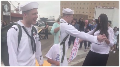 水手下船含淚與家人團聚!走近一看,老婆肚子大了…他臉卻綠了
