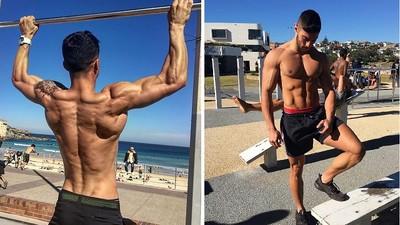 肌肉男海灘邊猛健身,姐該玩水還是看肉~