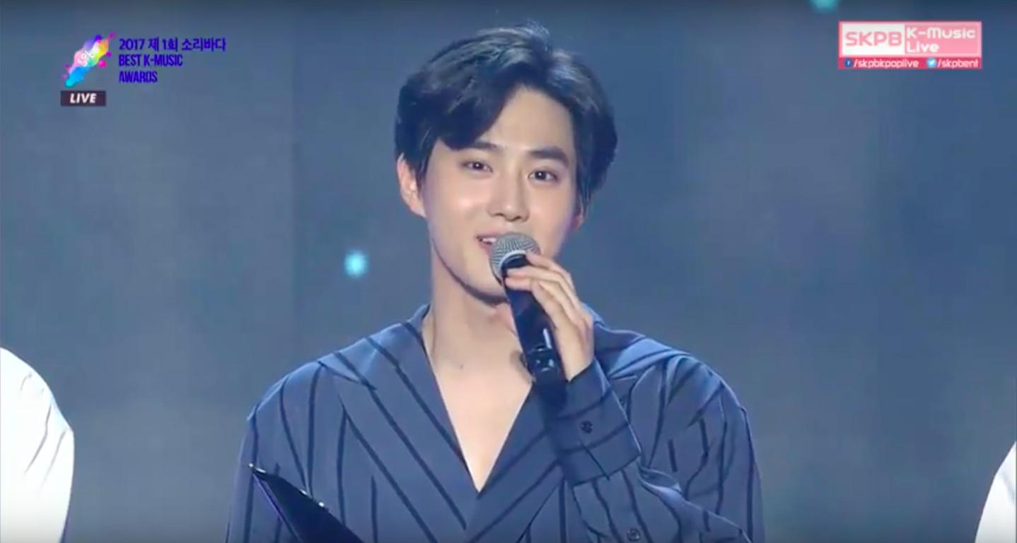 ▲▼EXO今年第一個大賞「人沒到齊」 隊長Suho:想念Lay(圖/翻攝自Skpb K-Music Live Youtube、Vlive)