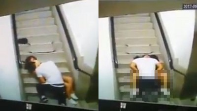 樓梯間偷用「美腿夾殺公狗腰」 路人開門撞見...女孩羞落跑