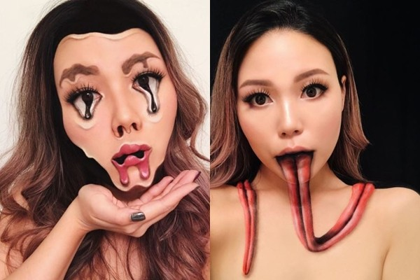 ▲▼臉都融化了!彩妝師創作3D錯覺彩妝 竟跟疾病有關。(圖/翻攝自mimles instagram)