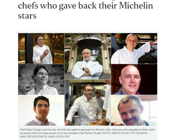 ▲8位名廚歸還米其林星星,不願再參加評鑑。(圖/翻攝自《海峽時報》)