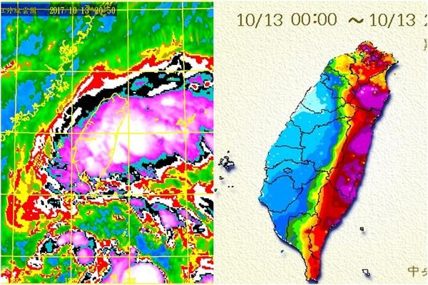 ▲「巨大卡努」狂風豪雨爆發,東半台灣紫爆。(圖/中央氣象局)