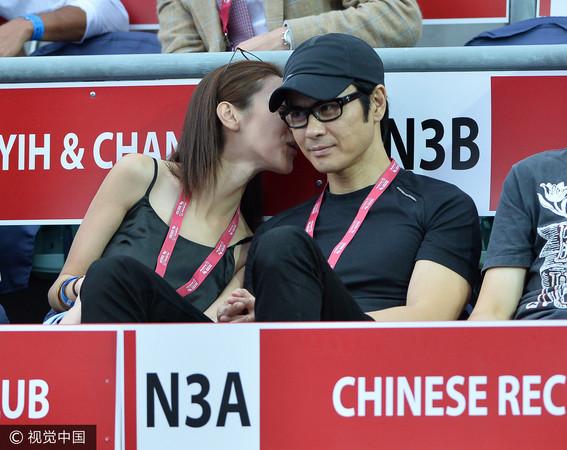 ▲▼鄭嘉穎和女友陳凱琳看網球賽。(圖/CFP)