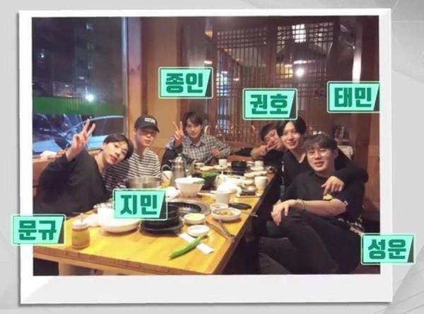 ▲「泰民LINE」除了SHINee泰民外,還包括EXO的KAI、防彈少年團的JIMIN以及WANNA ONE的河成雲等成員。(圖/翻攝自韓網)