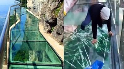 走在1180米高的透明棧道...「喀啦!」腳下玻璃突整片碎裂