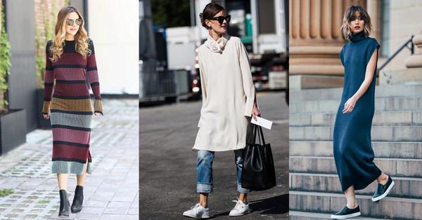 ▲针织裙又热又显胖?今年秋冬用一件针织连身裙穿出显瘦风格。(图/bella侬侬提供)