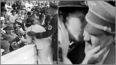 希特勒遭女粉「閃電強吻」影片瘋傳 網驚:這是男人該有的反應?