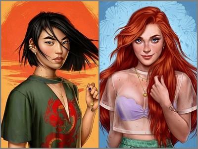插畫家繪「現代版迪士尼公主」,木蘭完全可以啊!