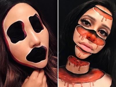 五官融化、臉被挖空!超現實化妝師又讓人毛到骨子裡