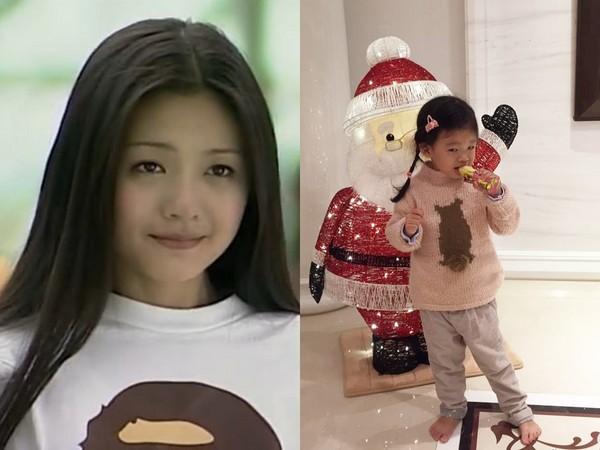 ▲大S《流星花園》爆紅全亞洲,女兒長髮綁辮子像小杉菜。(圖/翻攝自微博)