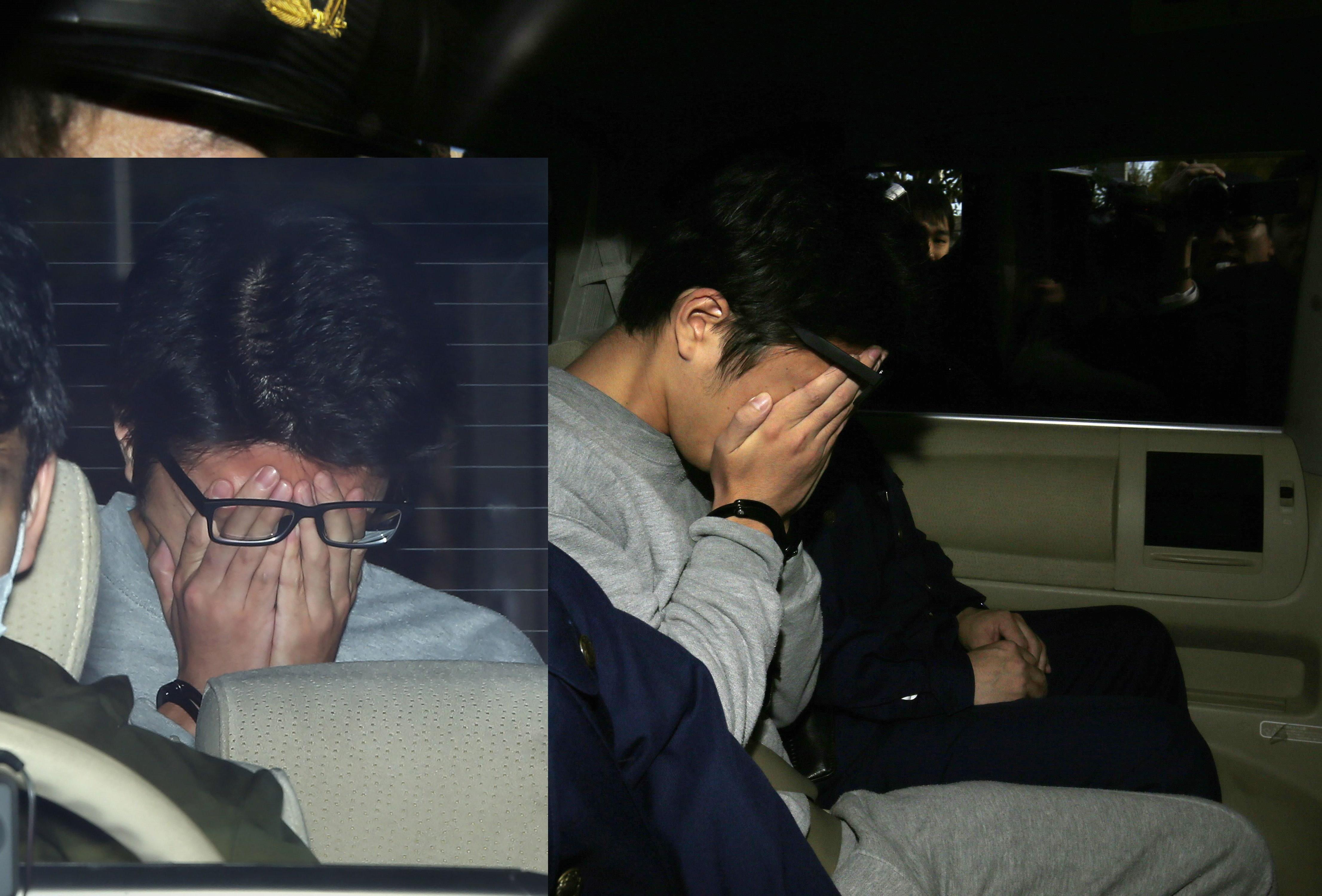 日本神奈川縣27歲男子白石隆浩涉嫌殺害9人,他被移送時低頭遮臉。(圖/合成圖/CFP)