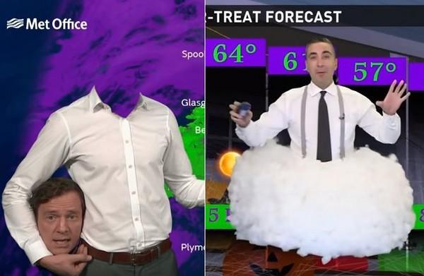 ▲萬聖節當天,氣象主播趁機作怪,另類的裝扮嚇壞不少觀眾。(圖/取自Youtube/Met Office - Weather及13News Now)