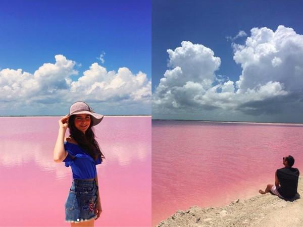▲墨西哥粉色夢幻鹽湖Las Coloradas(圖/翻攝自jasoncorvi、ari.grisel IG)