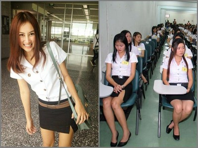 泰國女大生制服「邪惡開叉」,男同學看一眼就噴…連教授也淪陷