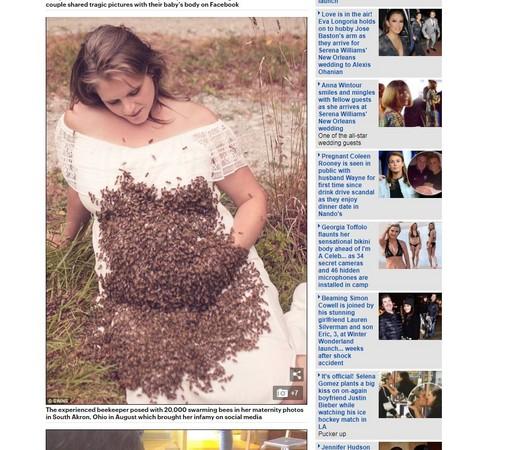 ▲▼ 2萬隻蜜蜂貼孕肚。(圖/翻攝自DailyMail)