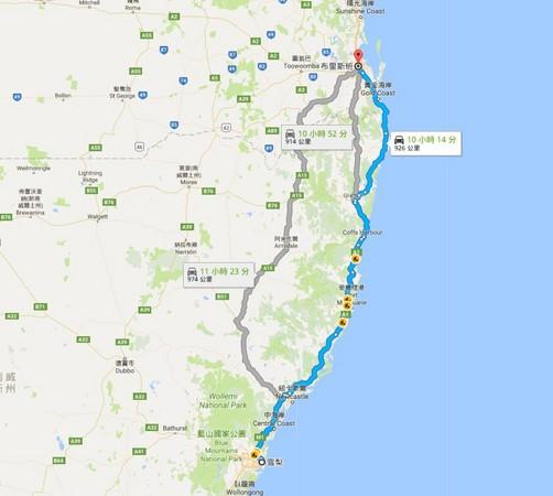 ▲▼雪梨至布里斯本的距離非常遙遠。(圖/翻攝自Google Maps)