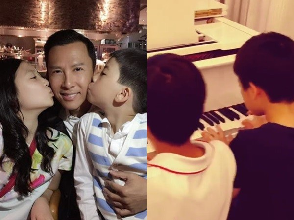 ▲甄子丹曬9歲兒四手聯彈影片。(圖/翻攝自甄子丹IG)