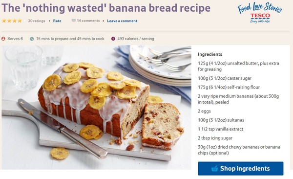 ▲▼英國超市特易購(Tesco)網站交消費者把多餘的香蕉變成蛋糕。(圖/翻攝自Tesco網站)
