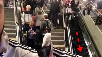 免費健步機?阿嬤下電扶梯堅持「逆向違行到底」