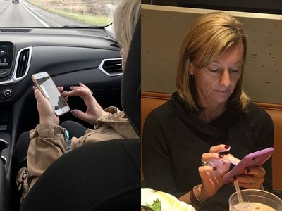 左手握機、右手猛戳!全世界「婆媽級低頭族」都這樣滑手機