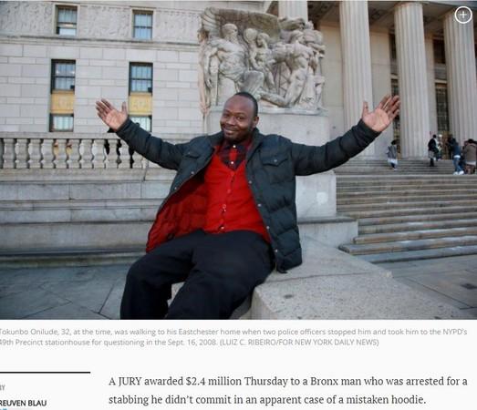 ▲▼安利魯德(Tokunbo Onilude)無辜入獄15天,怒告獲賠7200萬。(圖/翻攝自《紐約每日新聞》)
