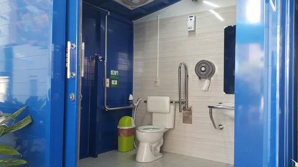 ▲全台首座裝設空調的加油站廁所。(圖/中油提供)