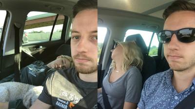 上車秒睡!嫩妻成「美版宋智孝」 開嘴睡姿被老公全記錄