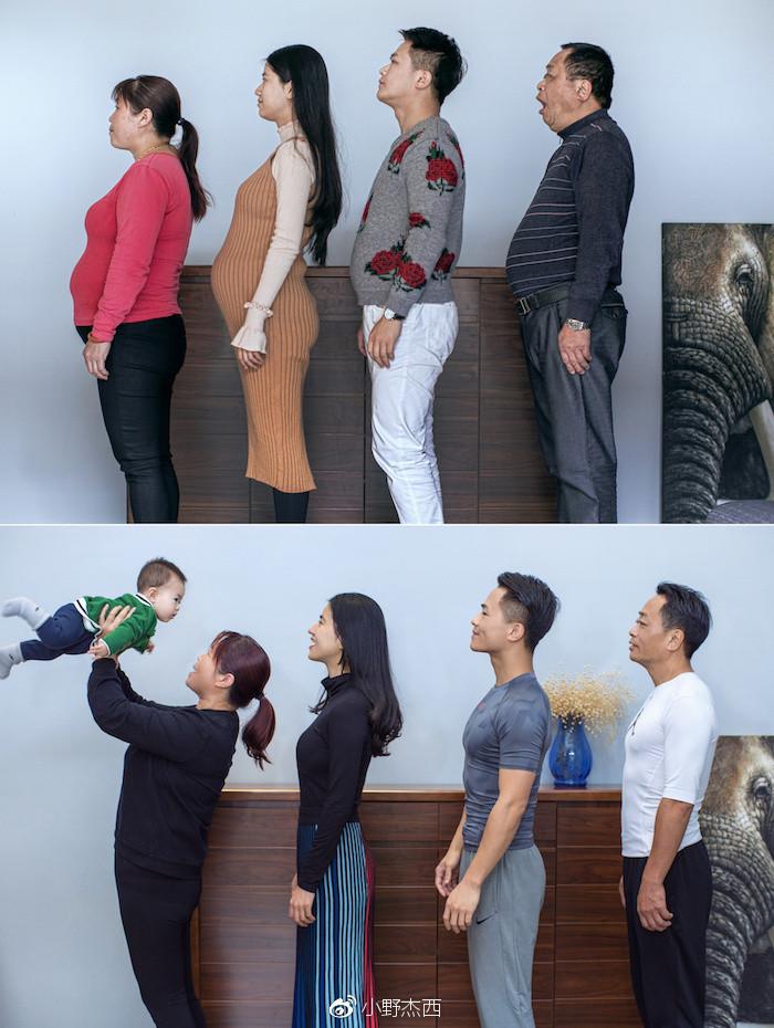 ▲▼廈門一名攝影師帶著父親及全家一起運動健身。(圖/取自「小野杰西」微博)
