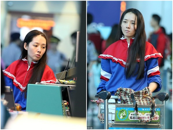 ▲▼郭碧婷之前在機場被拍到,蠟黃圓臉的素顏照。(圖/CFP)