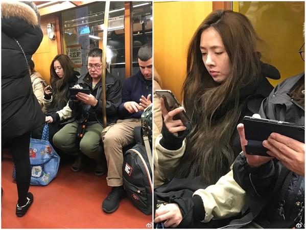 ▲▼郭碧婷最近在日本地鐵,被網友拍到素顏仙女照,和螢光幕上沒兩樣。(圖/取自「圈老漢」微博)